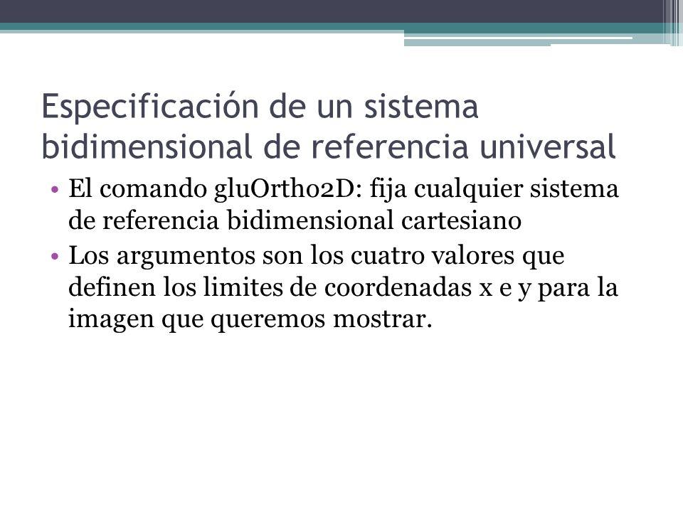 Especificación de un sistema bidimensional de referencia universal El comando gluOrtho2D: fija cualquier sistema de referencia bidimensional cartesian