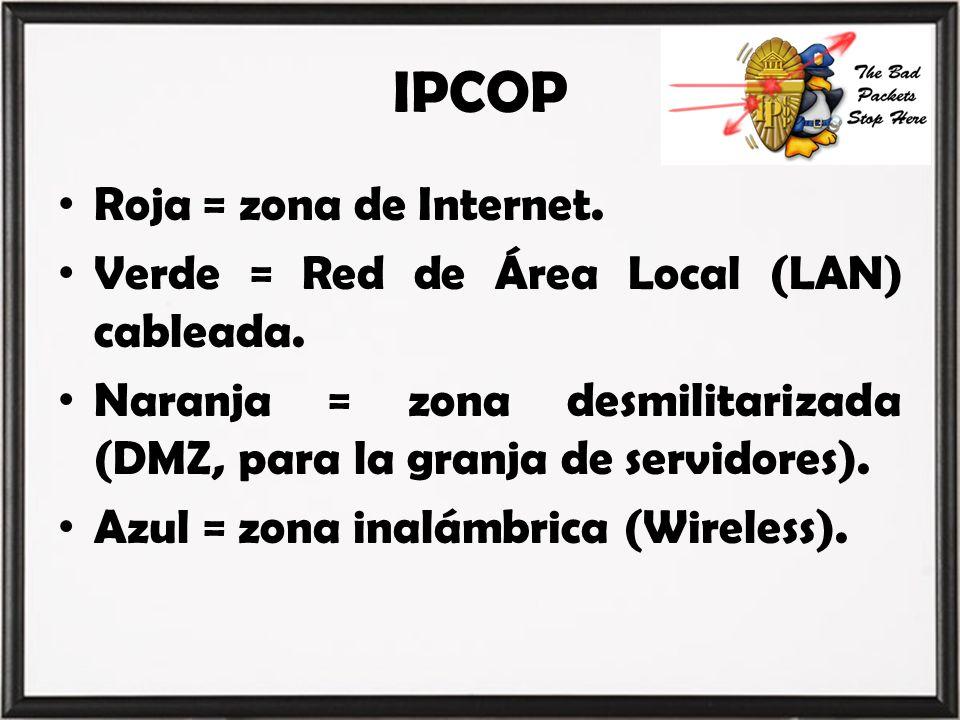 IPCOP Roja = zona de Internet. Verde = Red de Área Local (LAN) cableada. Naranja = zona desmilitarizada (DMZ, para la granja de servidores). Azul = zo