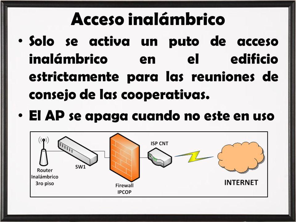 Acceso inalámbrico Solo se activa un puto de acceso inalámbrico en el edificio estrictamente para las reuniones de consejo de las cooperativas. El AP