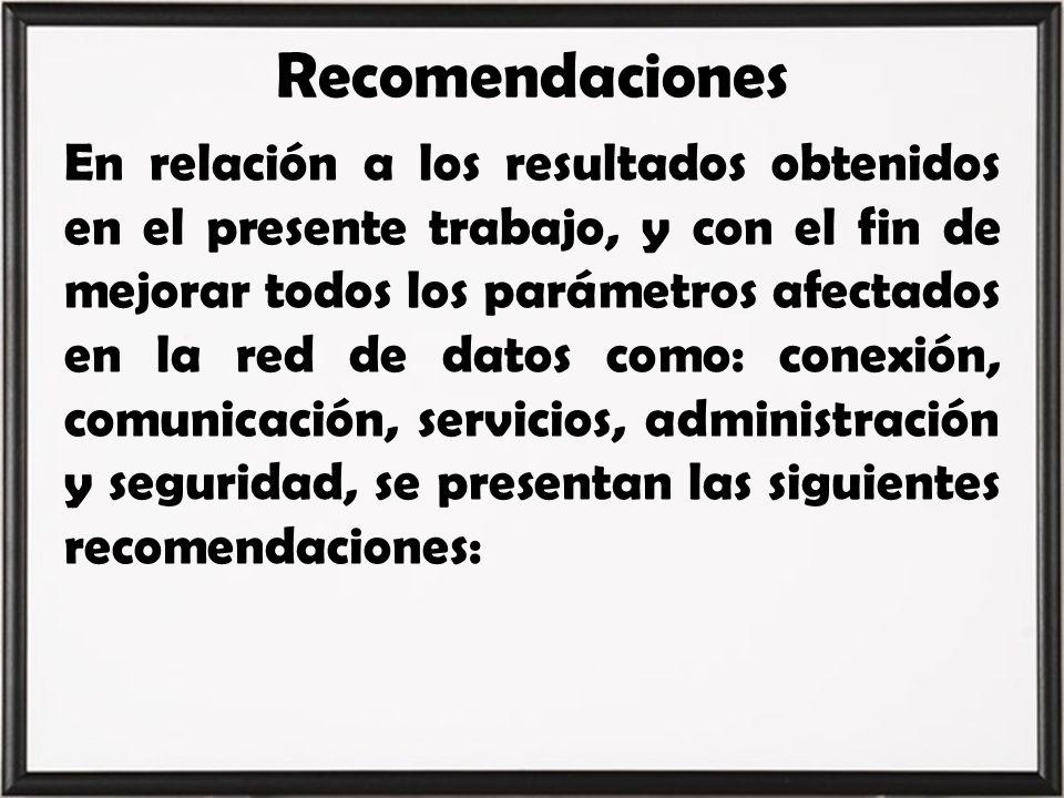 Recomendaciones En relación a los resultados obtenidos en el presente trabajo, y con el fin de mejorar todos los parámetros afectados en la red de dat