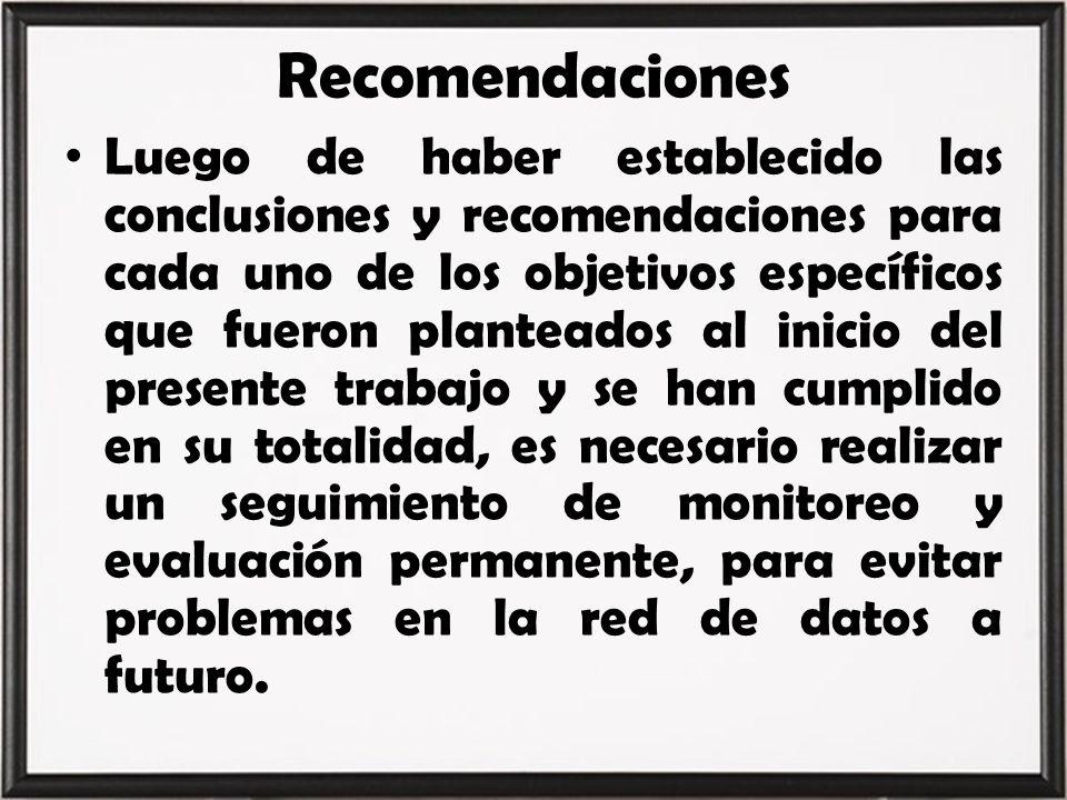 Recomendaciones Luego de haber establecido las conclusiones y recomendaciones para cada uno de los objetivos específicos que fueron planteados al inic