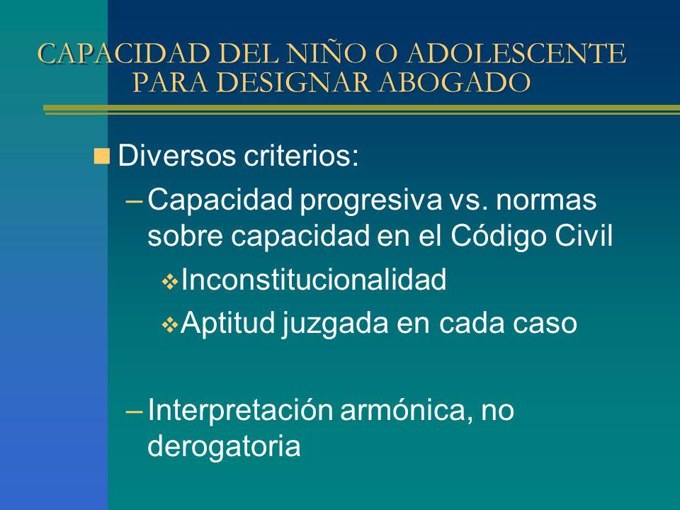 CAPACIDAD DEL NIÑO O ADOLESCENTE PARA DESIGNAR ABOGADO Diversos criterios: –Capacidad progresiva vs.