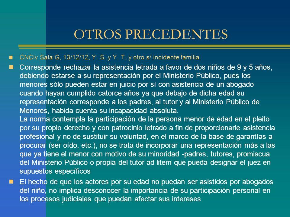 OTROS PRECEDENTES CNCiv Sala G, 13/12/12, Y.S. y Y.