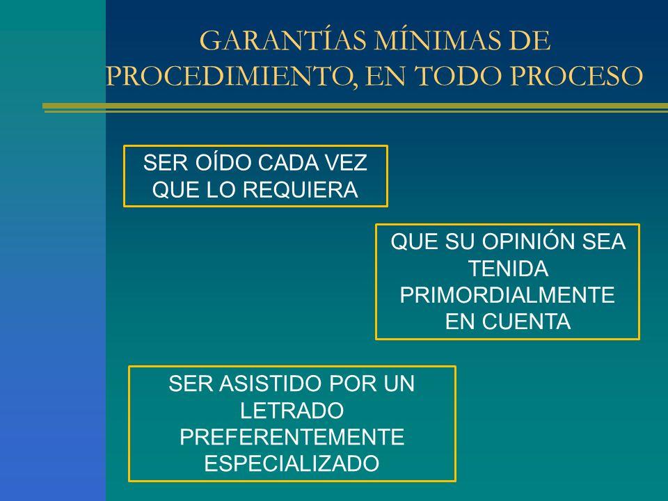 GARANTÍAS MÍNIMAS DE PROCEDIMIENTO, EN TODO PROCESO SER OÍDO CADA VEZ QUE LO REQUIERA QUE SU OPINIÓN SEA TENIDA PRIMORDIALMENTE EN CUENTA SER ASISTIDO POR UN LETRADO PREFERENTEMENTE ESPECIALIZADO