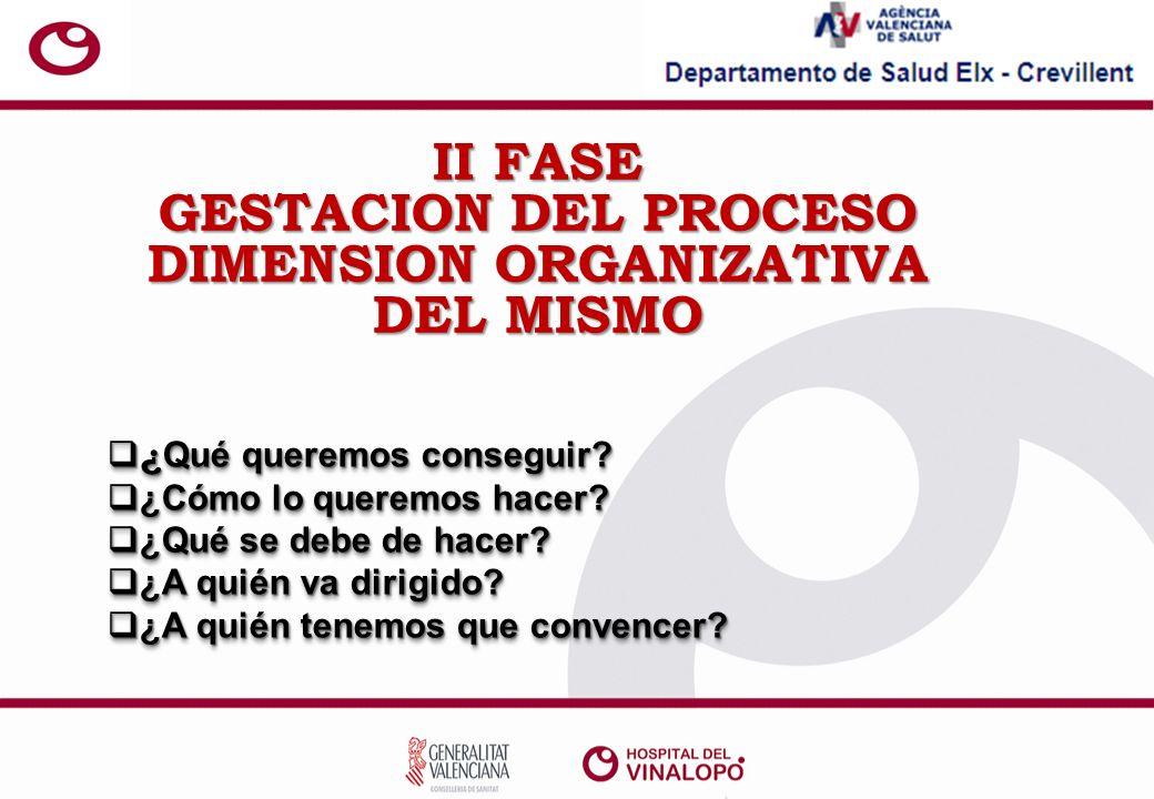 II FASE GESTACION DEL PROCESO DIMENSION ORGANIZATIVA DEL MISMO ¿ Qué queremos conseguir.