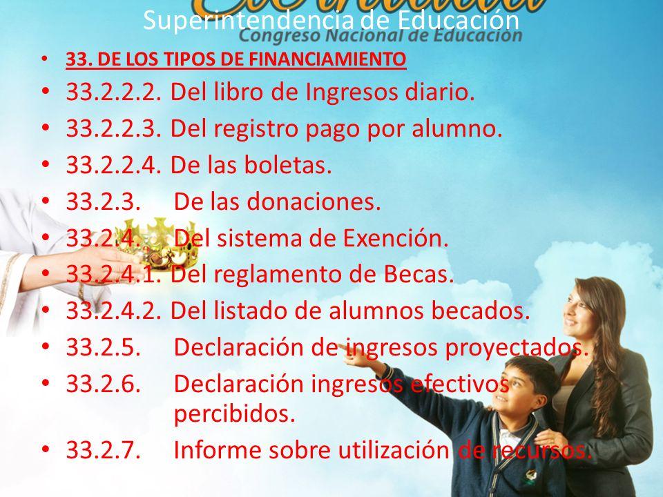 Superintendencia de Educación 33.DE LOS TIPOS DE FINANCIAMIENTO 33.2.2.2.