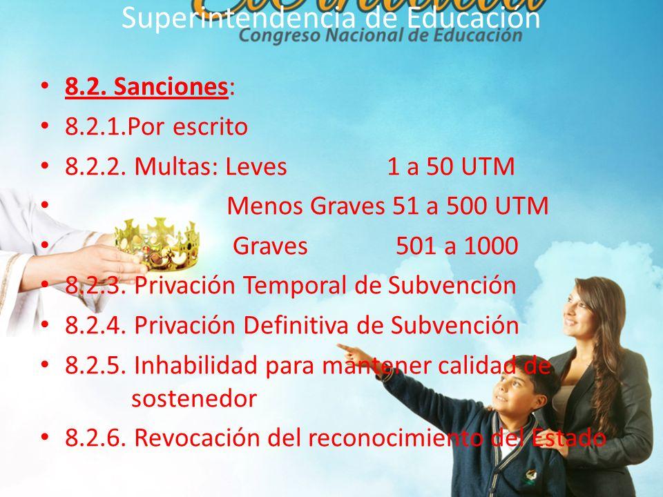 Superintendencia de Educación 8.2.Sanciones: 8.2.1.Por escrito 8.2.2.
