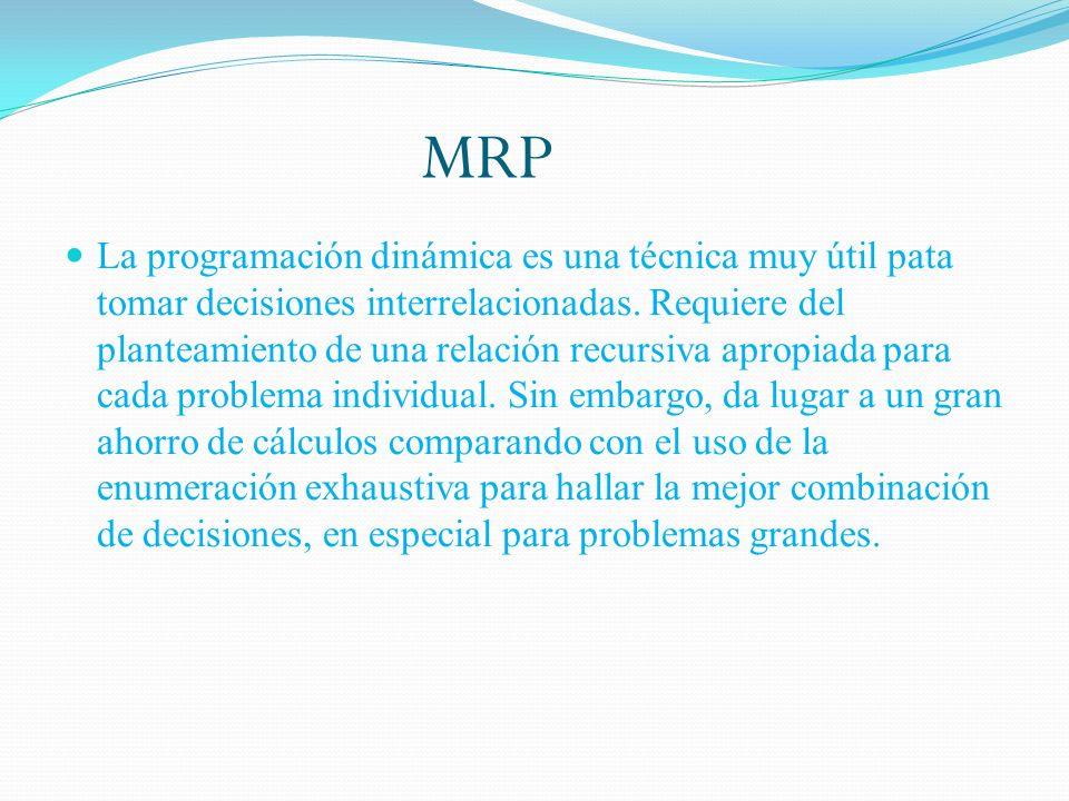 MRP La programación dinámica es una técnica muy útil pata tomar decisiones interrelacionadas. Requiere del planteamiento de una relación recursiva apr