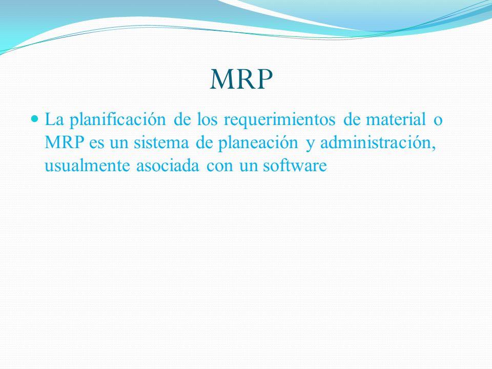 MRP La planificación de los requerimientos de material o MRP es un sistema de planeación y administración, usualmente asociada con un software