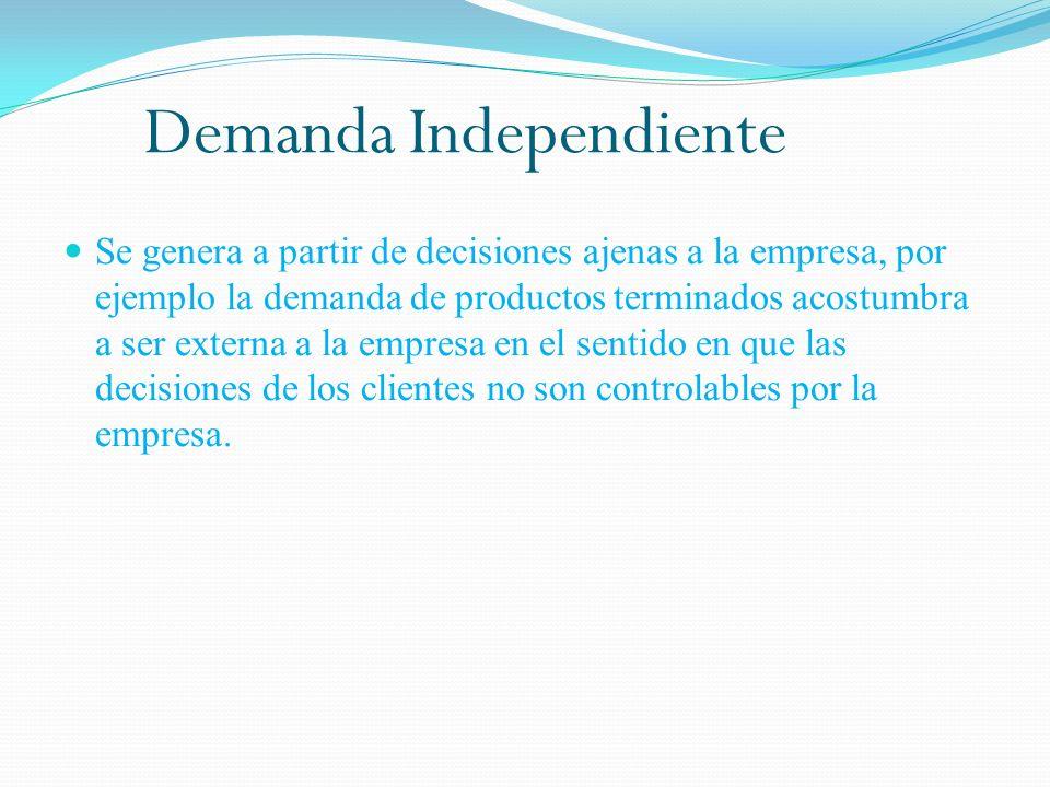 Demanda Independiente Se genera a partir de decisiones ajenas a la empresa, por ejemplo la demanda de productos terminados acostumbra a ser externa a la empresa en el sentido en que las decisiones de los clientes no son controlables por la empresa.