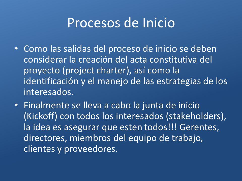 Procesos de Inicio Como las salidas del proceso de inicio se deben considerar la creación del acta constitutiva del proyecto (project charter), así co