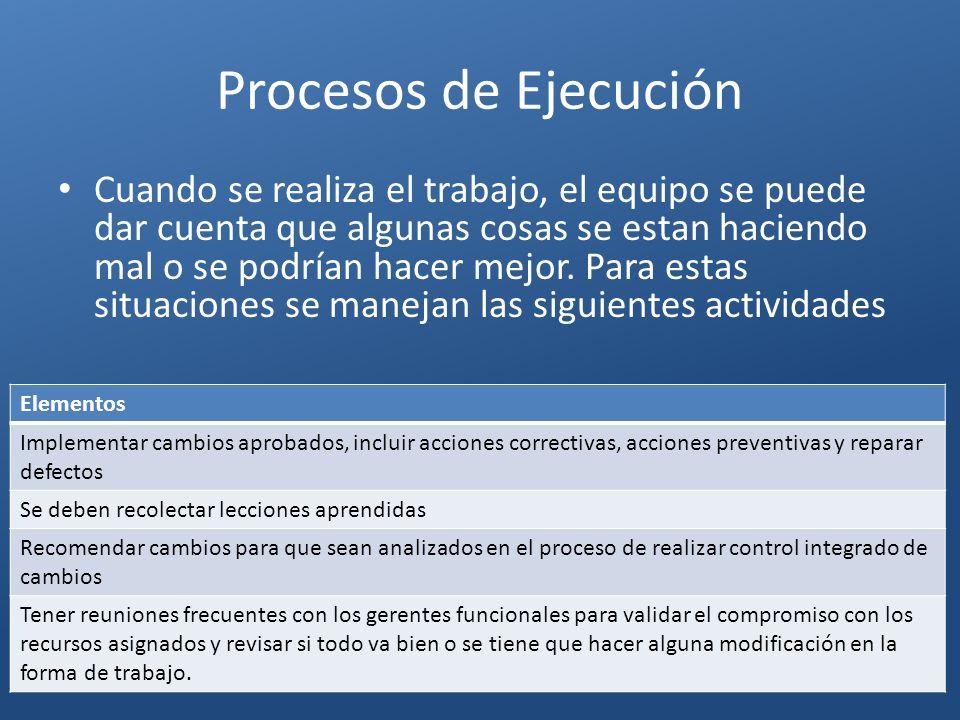 Procesos de Ejecución Elementos Implementar cambios aprobados, incluir acciones correctivas, acciones preventivas y reparar defectos Se deben recolect