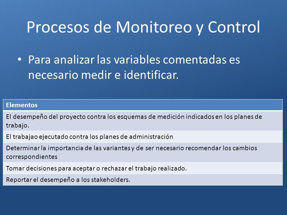 Procesos de Monitoreo y Control Elementos El desempeño del proyecto contra los esquemas de medición indicados en los planes de trabajo. El trabajao ej