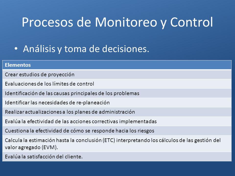 Procesos de Monitoreo y Control Elementos Crear estudios de proyección Evaluaciones de los límites de control Identificación de las causas principales