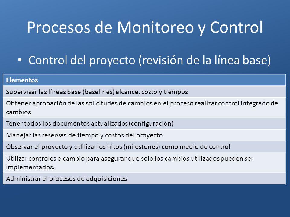 Procesos de Monitoreo y Control Elementos Supervisar las líneas base (baselines) alcance, costo y tiempos Obtener aprobación de las solicitudes de cam