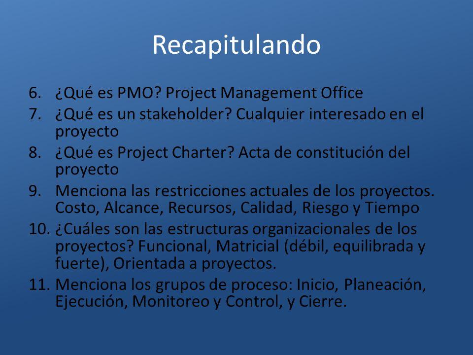 Recapitulando 6.¿Qué es PMO? Project Management Office 7.¿Qué es un stakeholder? Cualquier interesado en el proyecto 8.¿Qué es Project Charter? Acta d