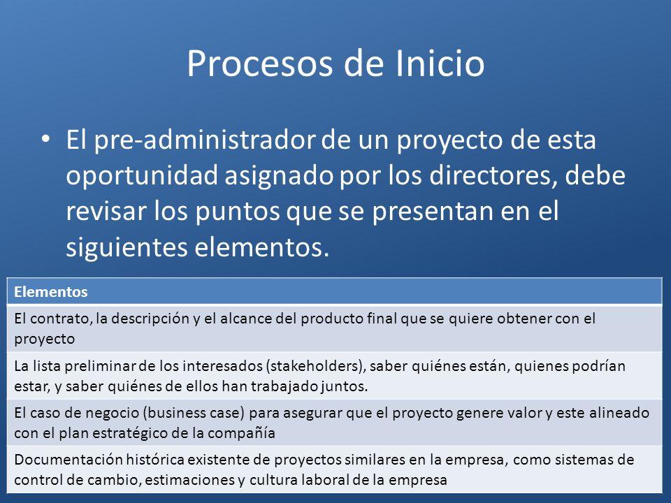 Procesos de Inicio El pre-administrador de un proyecto de esta oportunidad asignado por los directores, debe revisar los puntos que se presentan en el