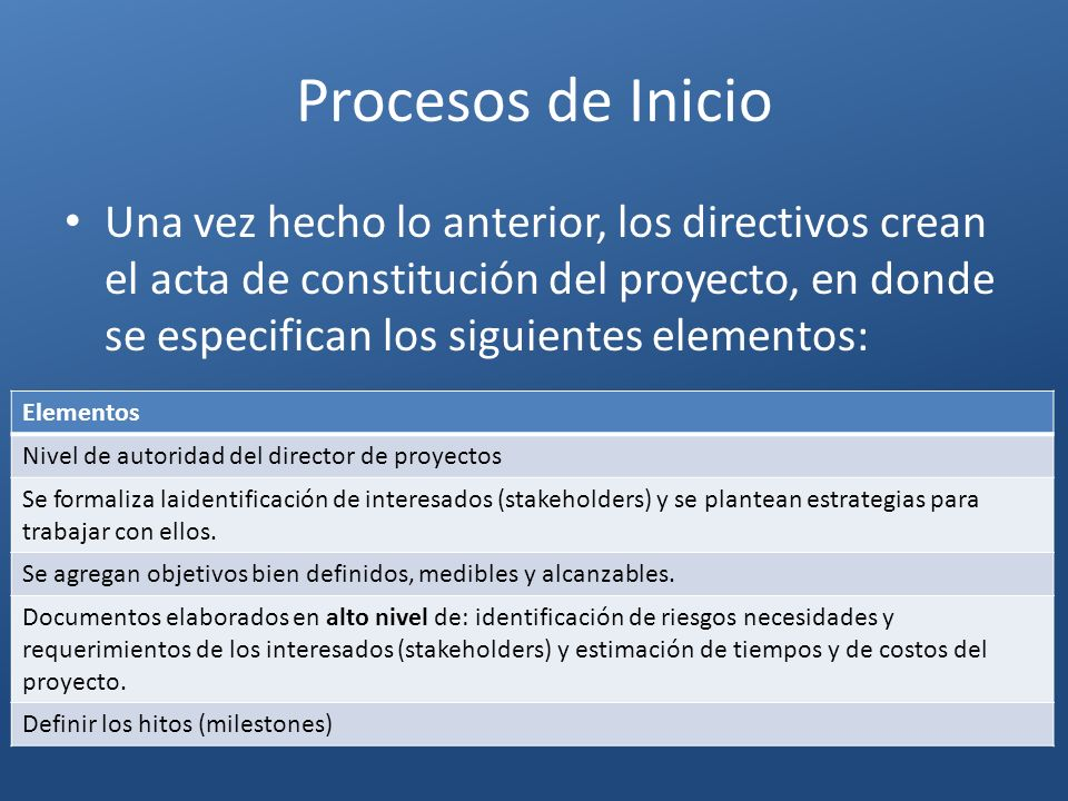 Procesos de Inicio Una vez hecho lo anterior, los directivos crean el acta de constitución del proyecto, en donde se especifican los siguientes elemen