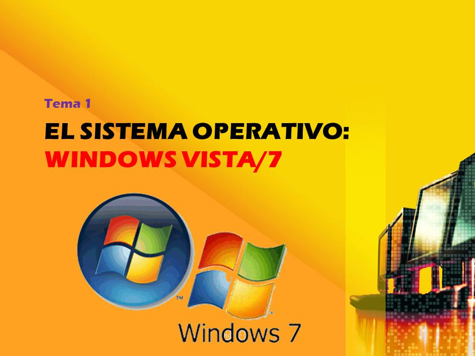 EL SISTEMA OPERATIVO: WINDOWS VISTA/7 Tema 1