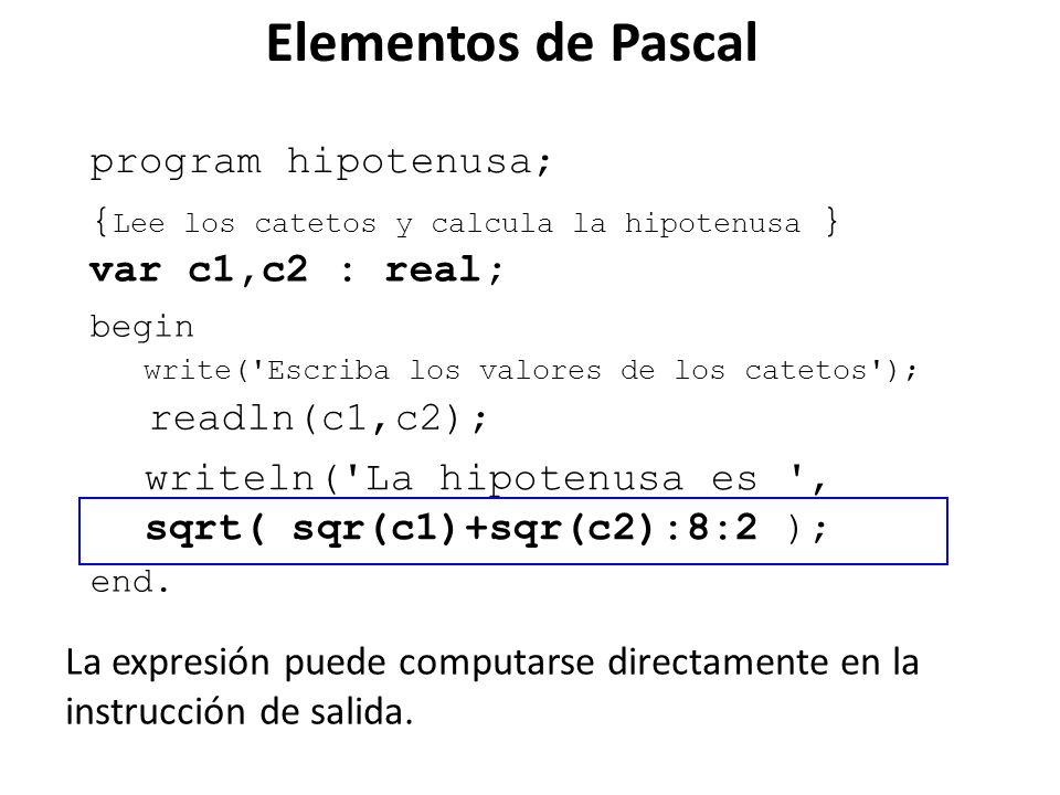 program hipotenusa; begin end. var c1,c2 : real; writeln('La hipotenusa es ', sqrt( sqr(c1)+sqr(c2):8:2 ); write('Escriba los valores de los catetos')