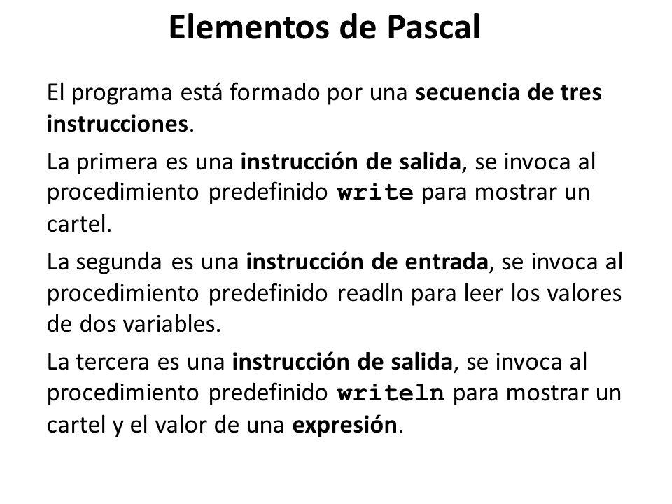 El programa está formado por una secuencia de tres instrucciones. La primera es una instrucción de salida, se invoca al procedimiento predefinido writ