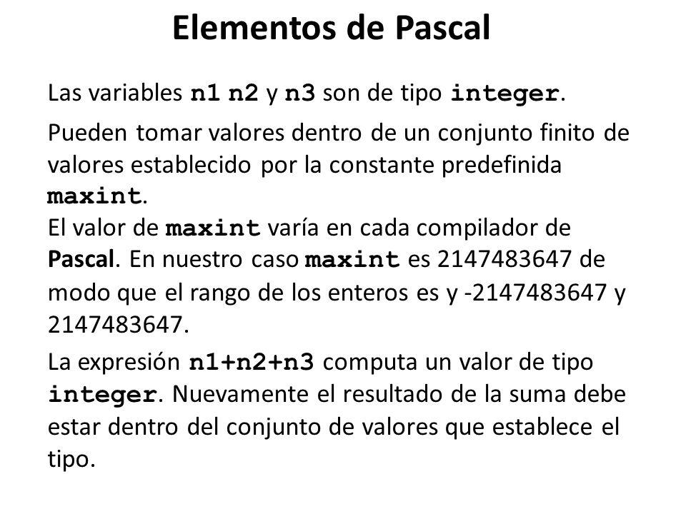 Elementos de Pascal Las variables n1 n2 y n3 son de tipo integer. Pueden tomar valores dentro de un conjunto finito de valores establecido por la cons