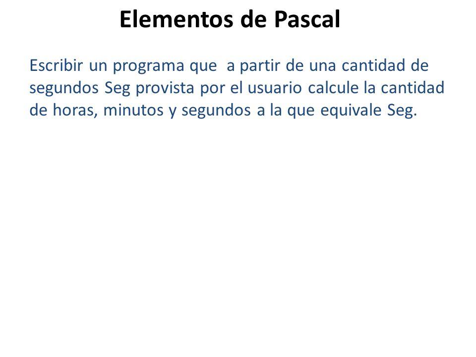 Escribir un programa que a partir de una cantidad de segundos Seg provista por el usuario calcule la cantidad de horas, minutos y segundos a la que eq