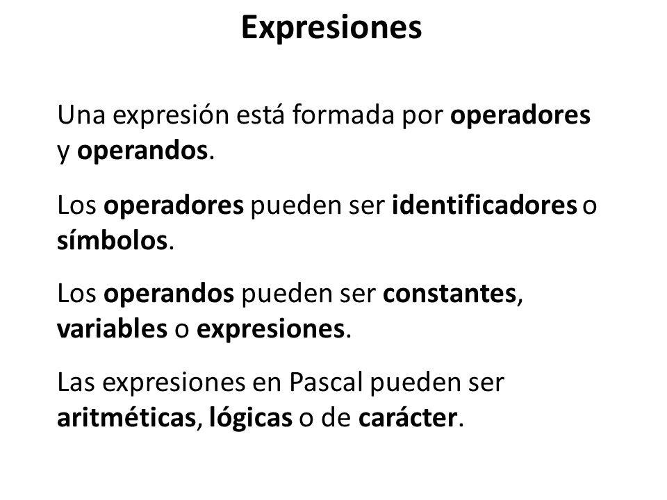 Expresiones Una expresión está formada por operadores y operandos. Los operandos pueden ser constantes, variables o expresiones. Las expresiones en Pa