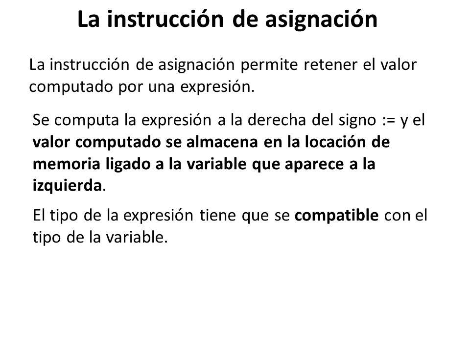 La instrucción de asignación La instrucción de asignación permite retener el valor computado por una expresión. Se computa la expresión a la derecha d