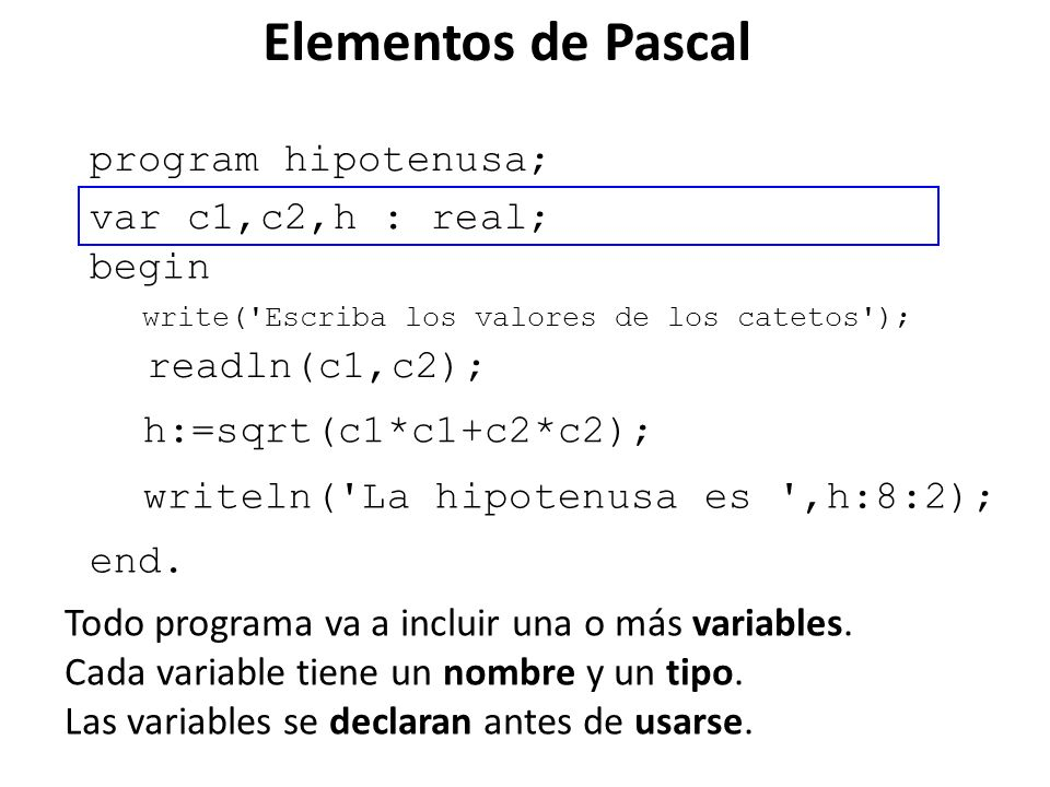 Elementos de Pascal program promedioNotas; var n1,n2,n3 : integer; begin write ( Ingrese las tres notas ); read (n1); read (n2); read (n3); writeln( Promedio ,(n1+n2+n3)/3:5:2); end.