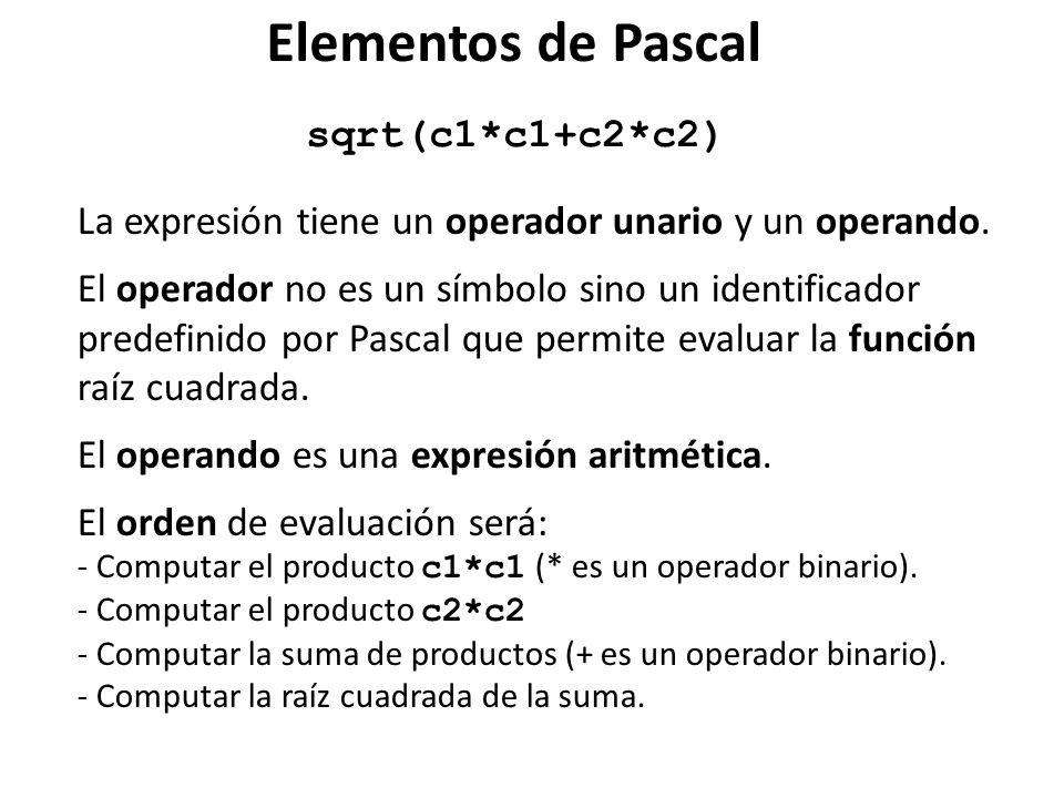 sqrt(c1*c1+c2*c2) La expresión tiene un operador unario y un operando. El operador no es un símbolo sino un identificador predefinido por Pascal que p