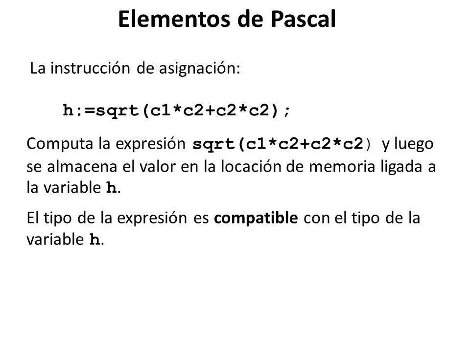 La instrucción de asignación: Computa la expresión sqrt(c1*c2+c2*c2) y luego se almacena el valor en la locación de memoria ligada a la variable h. El