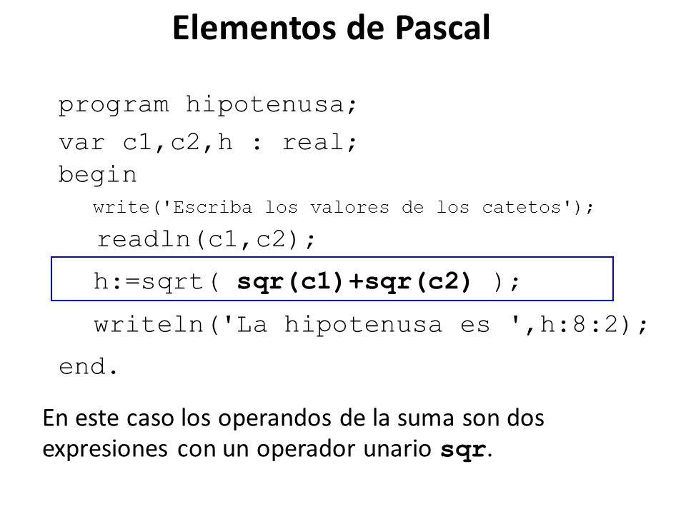 program hipotenusa; begin end. h:=sqrt( sqr(c1)+sqr(c2) ); var c1,c2,h : real; writeln('La hipotenusa es ',h:8:2); write('Escriba los valores de los c