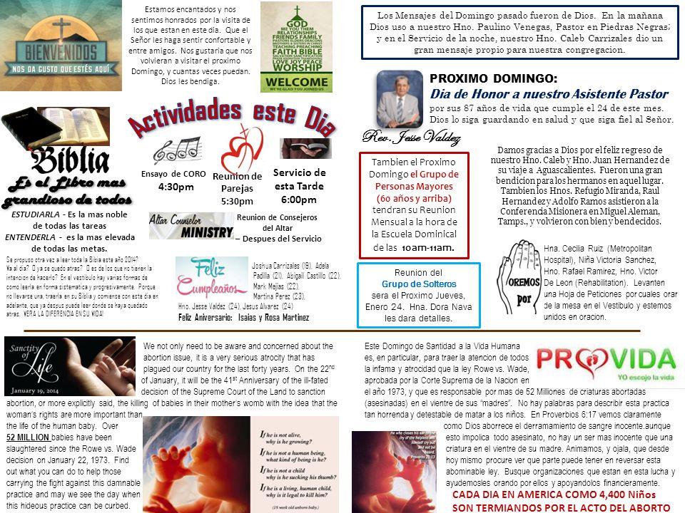 Director General de Evangelismo : Carlos Rivera Asistente : Refugio Miranda Secretaria de Visitation : Yaite Rivera Asistente: Linda Hernandez Presidente de Pescadores : Refugio Miranda Asistente: Juan Hernandez Lider de las Sembradoras : Cristina Gomez Lider de Oracion y Director del Discipulado : Rev.