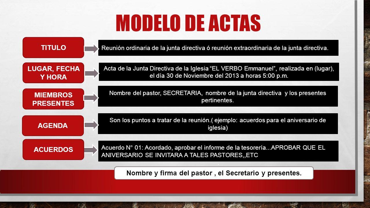 MODELO DE ACTAS Acta de la Junta Directiva de la Iglesia EL VERBO Emmanuel, realizada en (lugar), el día 30 de Noviembre del 2013 a horas 5:00 p.m. MI