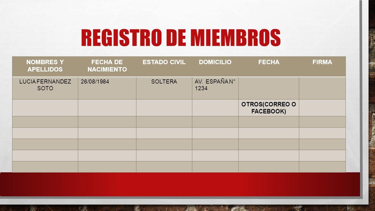 REGISTRO DE MIEMBROS NOMBRES Y APELLIDOS FECHA DE NACIMIENTO ESTADO CIVILDOMICILIOFECHAFIRMA LUCIA FERNANDEZ SOTO 26/08/1984SOLTERAAV. ESPAÑA N° 1234