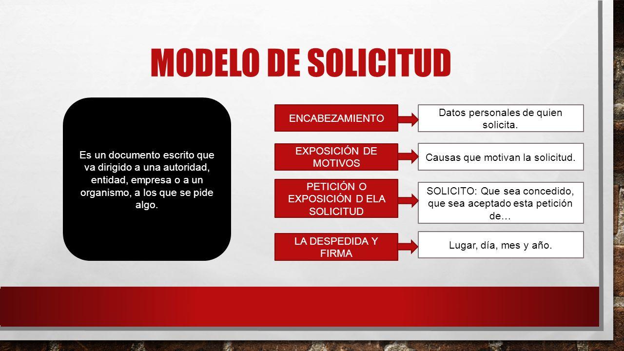 MODELO DE SOLICITUD Es un documento escrito que va dirigido a una autoridad, entidad, empresa o a un organismo, a los que se pide algo. ENCABEZAMIENTO