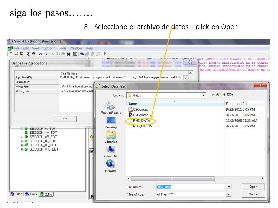 siga los pasos……. 8.Seleccione el archivo de datos – click en Open