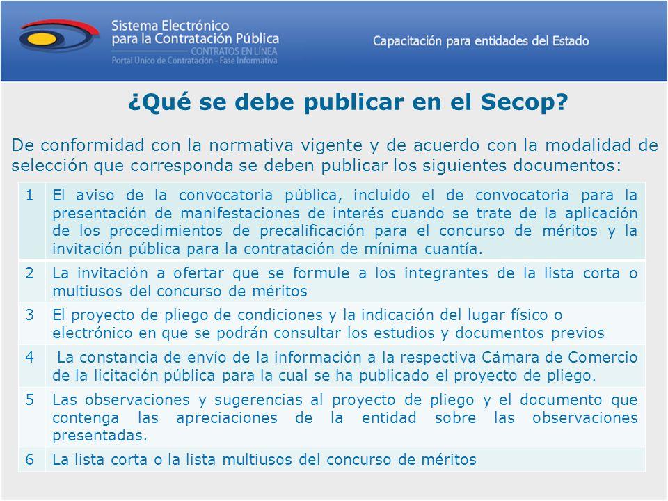 ¿Qué se debe publicar en el Secop? De conformidad con la normativa vigente y de acuerdo con la modalidad de selección que corresponda se deben publica