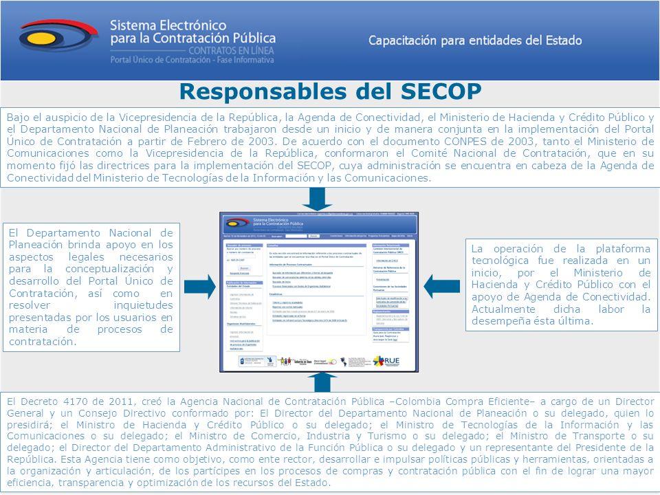 Responsables del SECOP La operación de la plataforma tecnológica fue realizada en un inicio, por el Ministerio de Hacienda y Crédito Público con el ap