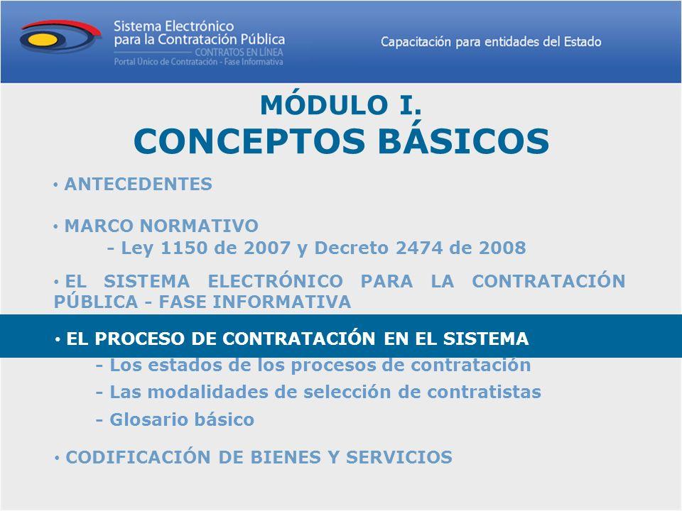 MÓDULO I. CONCEPTOS BÁSICOS ANTECEDENTES ANTECEDENTES EL SISTEMA ELECTRÓNICO PARA LA CONTRATACIÓN PÚBLICA - FASE INFORMATIVA EL SISTEMA ELECTRÓNICO PA
