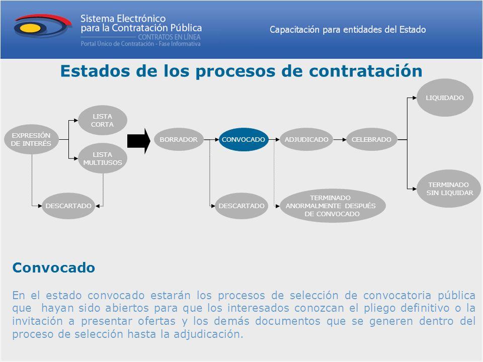 Convocado En el estado convocado estarán los procesos de selección de convocatoria pública que hayan sido abiertos para que los interesados conozcan e