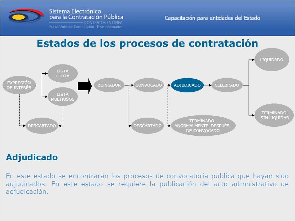 Adjudicado En este estado se encontrarán los procesos de convocatoria pública que hayan sido adjudicados. En este estado se requiere la publicación de