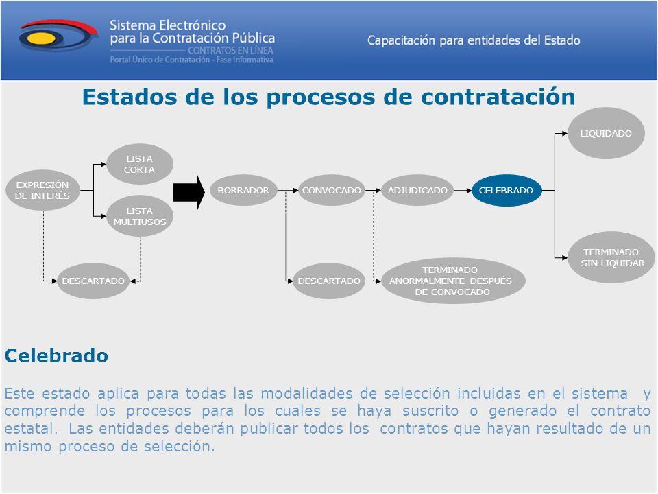 Celebrado Este estado aplica para todas las modalidades de selección incluidas en el sistema y comprende los procesos para los cuales se haya suscrito