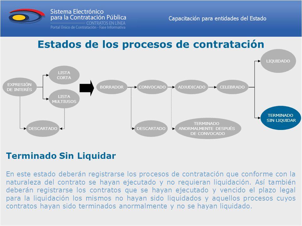 Terminado Sin Liquidar En este estado deberán registrarse los procesos de contratación que conforme con la naturaleza del contrato se hayan ejecutado