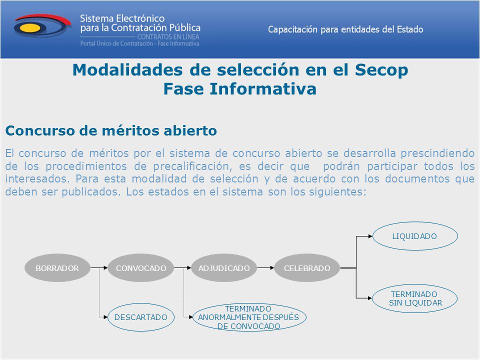 Modalidades de selección en el Secop Fase Informativa Concurso de méritos abierto El concurso de méritos por el sistema de concurso abierto se desarro