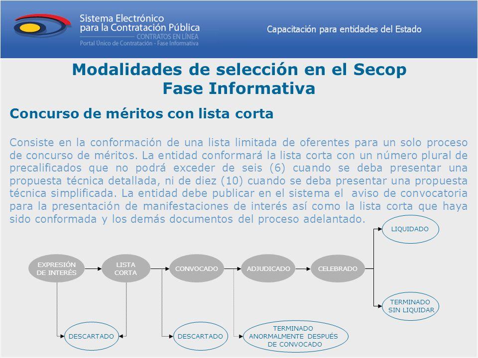 Concurso de méritos con lista corta Consiste en la conformación de una lista limitada de oferentes para un solo proceso de concurso de méritos. La ent