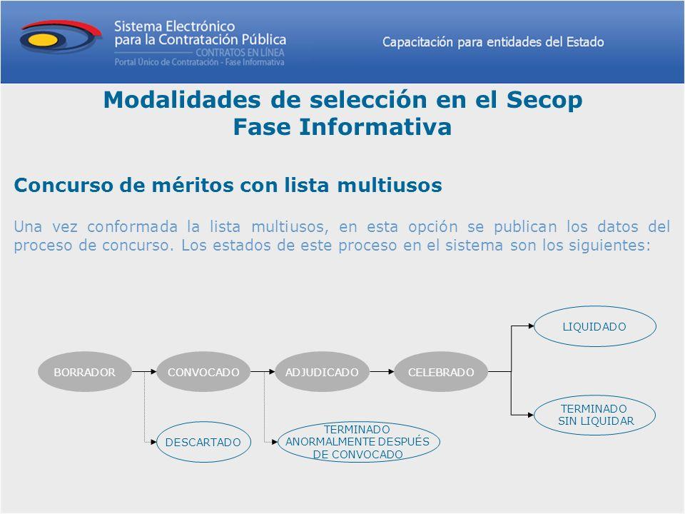 Concurso de méritos con lista multiusos Una vez conformada la lista multiusos, en esta opción se publican los datos del proceso de concurso. Los estad