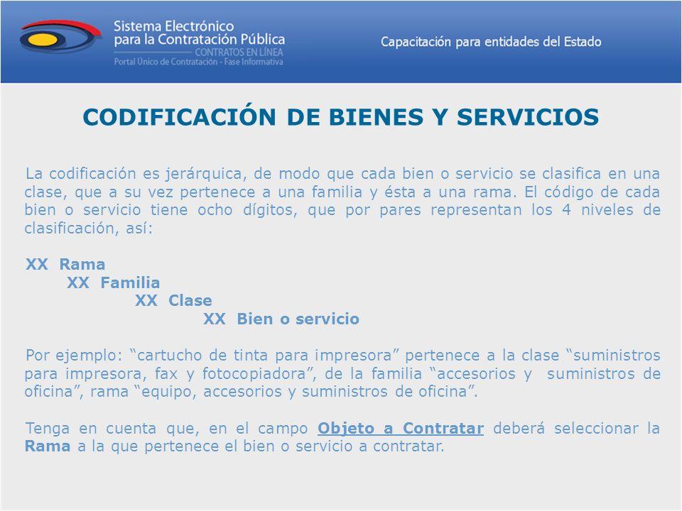 CODIFICACIÓN DE BIENES Y SERVICIOS La codificación es jerárquica, de modo que cada bien o servicio se clasifica en una clase, que a su vez pertenece a