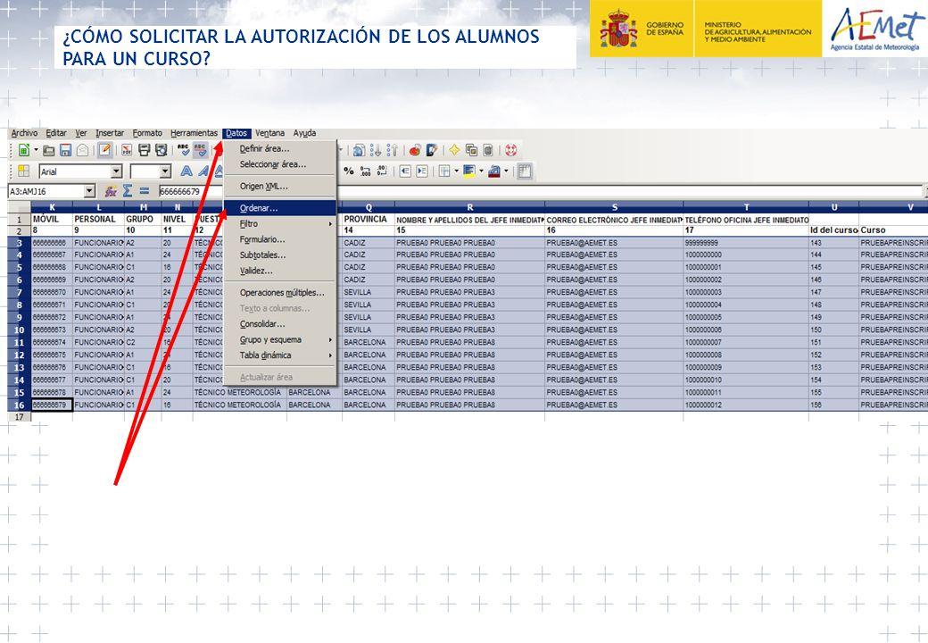 Seleccionamos la columna donde está el correo electrónico del jefe inmediato ¿CÓMO SOLICITAR LA AUTORIZACIÓN DE LOS ALUMNOS PARA UN CURSO?